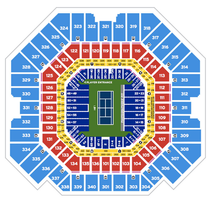 Us Open Seat Map Tennis US Open Seating Guide | 2021 US Open | Championship Tennis Tours